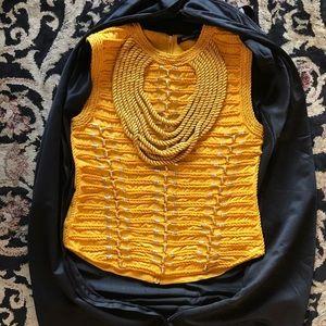 Balmain Yellow Braided Woven Vest Top Gold Shirt
